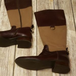 Etienne Aigner Leather and Canvas Riding Boots